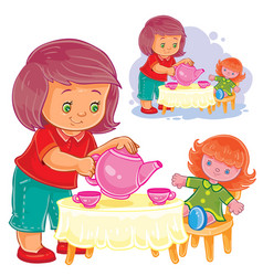 small girl plays with a doll treats her with tea vector image vector image
