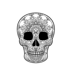 sugar skull with floral pattern mexican day of vector image vector image
