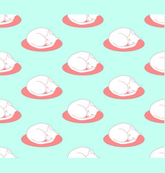 ball cat sleeping on bed on green mint background vector image