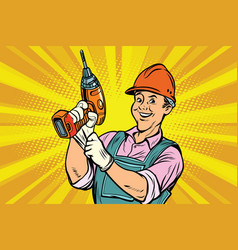 construction worker with the repair tool drill vector image vector image