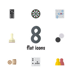flat icon games set of chequer arrow gomoku and vector image vector image