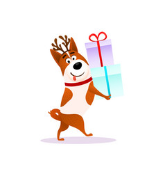 funny cartoon dog with xmas gift happy puppy vector image vector image
