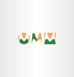 letter m logo set green orange icon vector image