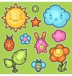 Set of kawaii doodles with different facial vector image