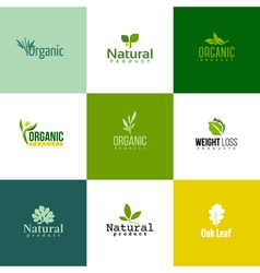 Set of natural and organic products logo templates vector image