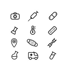 100 medical icons black pictograms for web vector image