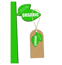 100 percent organic cork natural tag sale label vector image