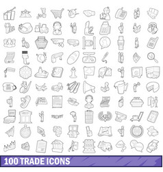 100 trade icons set outline style vector image