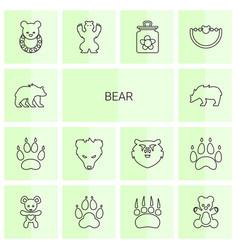 14 bear icons vector