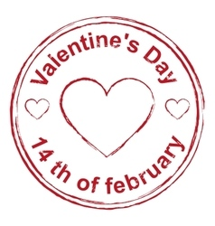 14th February Valentines Day Red stamp imprint vector