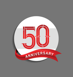 50 anniversary with white circle and red ribbon vector