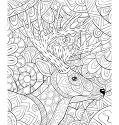 Adult coloring bookpage a cute head of deer on vector