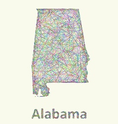 Alabama line art map vector