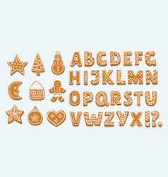 Alphabet ginger cookie isolated on white vector