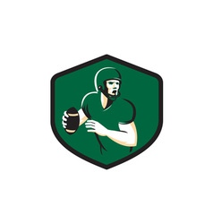 American Football Quarterback QB Shield Retro vector image