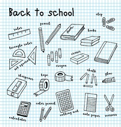 Back to school doodle drawing vector