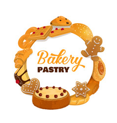 Bakery and pastry desserts round frame vector