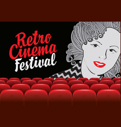 banner for retro cinema festival with girls face vector image