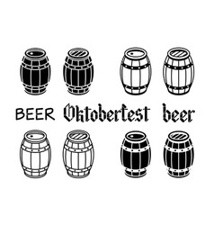 Barrels set beer wood oktoberfest vector image