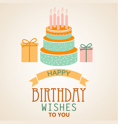 Birthday poster with cake and ribbon template vector