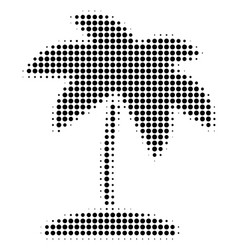 black dotted island tropic palm icon vector image