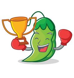 boxing winner peas mascot cartoon style vector image