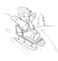 boy sledding from a large roller coaster in the vector image