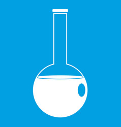 Chemical beaker icon white vector
