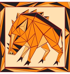 Chinese horoscope stylized stained glass pig vector