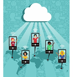 Cloud computing phone communication vector image