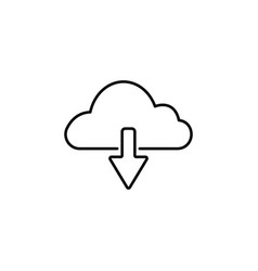 cloud download line icon black on white background vector image