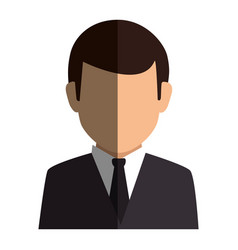 colorful silhouette faceless half body man formal vector image