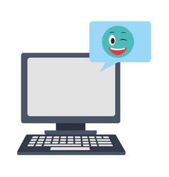 computer with speech bubble and emoji kawaii vector image