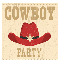 Cowboy party card with western hat vector