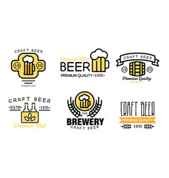 craft beer logo set vintage brewery premium vector image
