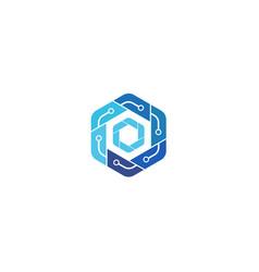 creative hexagon technology logo design symbol vector image