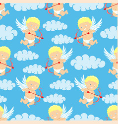 cupids and clouds vector image