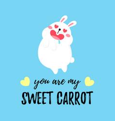 Cute cartoon card with rabbit vector