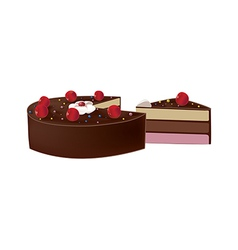 delicious chocolate cake with cherries vector image