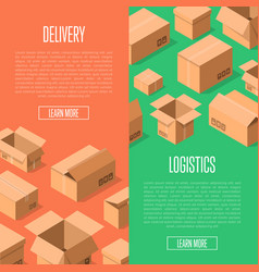 Delivery logistics advertising with packing boxes vector