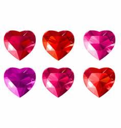 diamond jewelry hearts vector image vector image