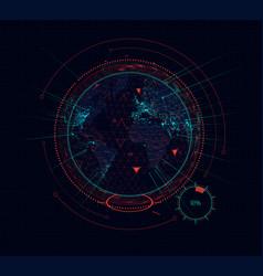 Digital holographic earth globe sci-fi futuristic vector