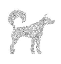 Dog zentangle stylized dog freehand sketch with vector