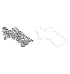 Dot contour map of turkmenistan vector