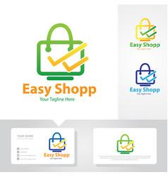 easy shop logo design vector image