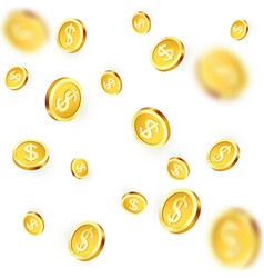 falling golden coins shiny metal dollar rain vector image