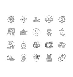 fintech line icons signs set outline vector image