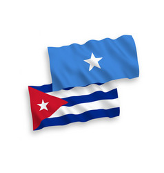 Flags somalia and cuba on a white background vector