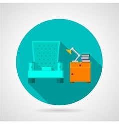 Flat color room interior icon vector image vector image