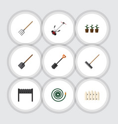 flat icon dacha set of barbecue grass-cutter vector image